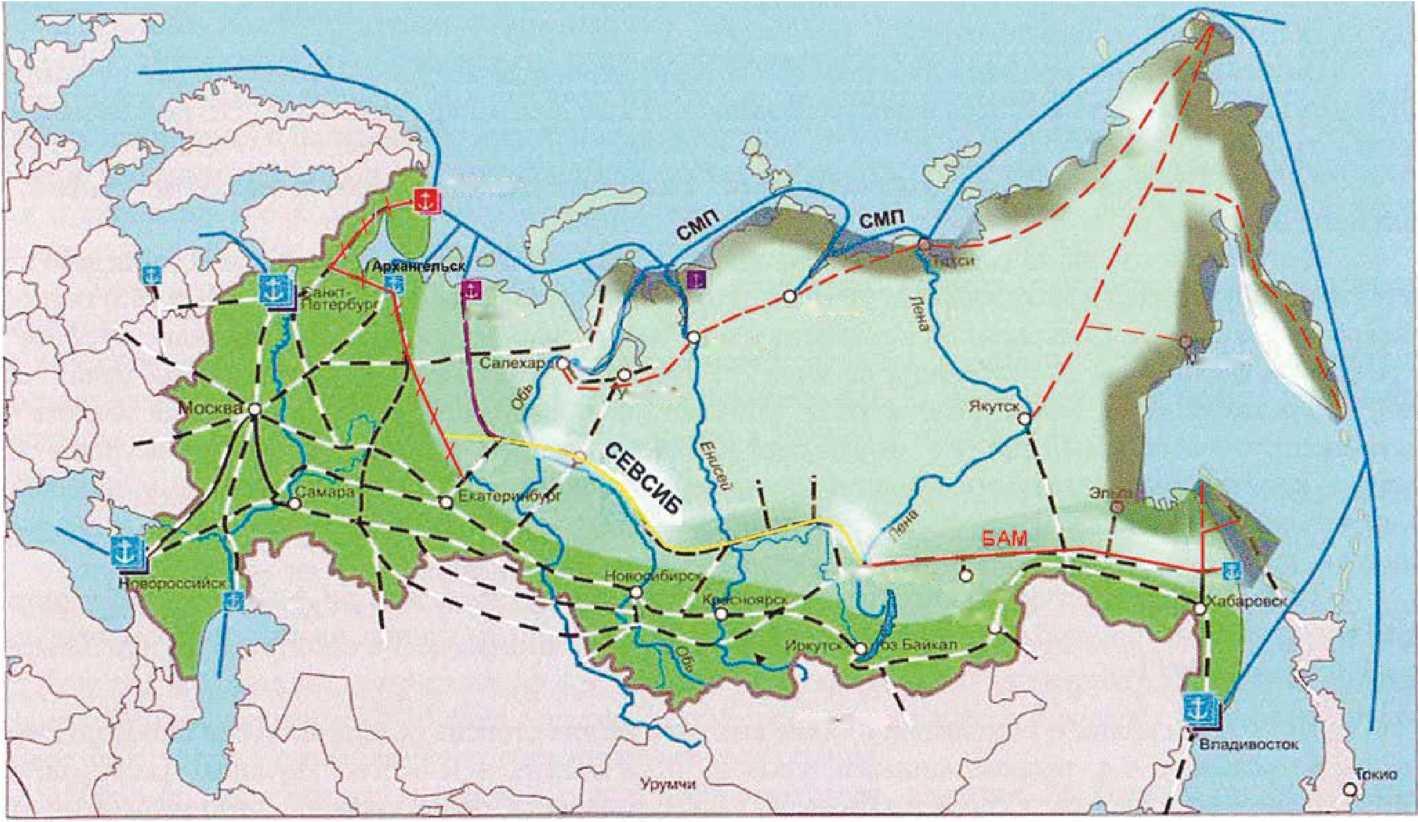 Схема 3. Развитие Байкало-Амурской магистрали на восток (Сахалин) и запад (Севсиб с выходами на порты Северного Ледовитого океана).