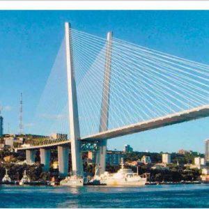 Приморский край. Золотой мост, построенный к саммиту АТЭС во Владивостоке. 2012 г