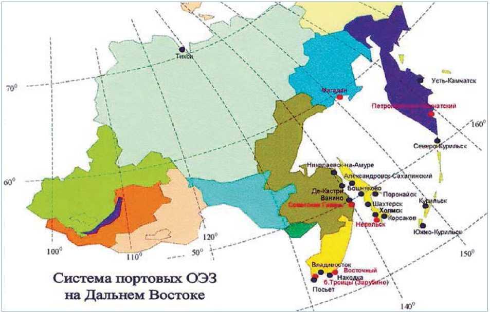 Возможная система особых экономических зон портового типа на Дальнем Востоке. (Новосельцев Е.М., 2008)