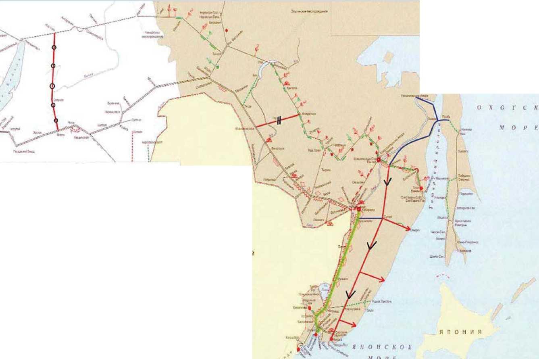 Схема 4. Соединительные линии Транссибирской и Байкало-Амурской железнодорожных магистралей