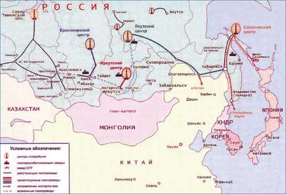 Схема магистральных газопроводов на востоке России в соответствии с Восточной газовой программой