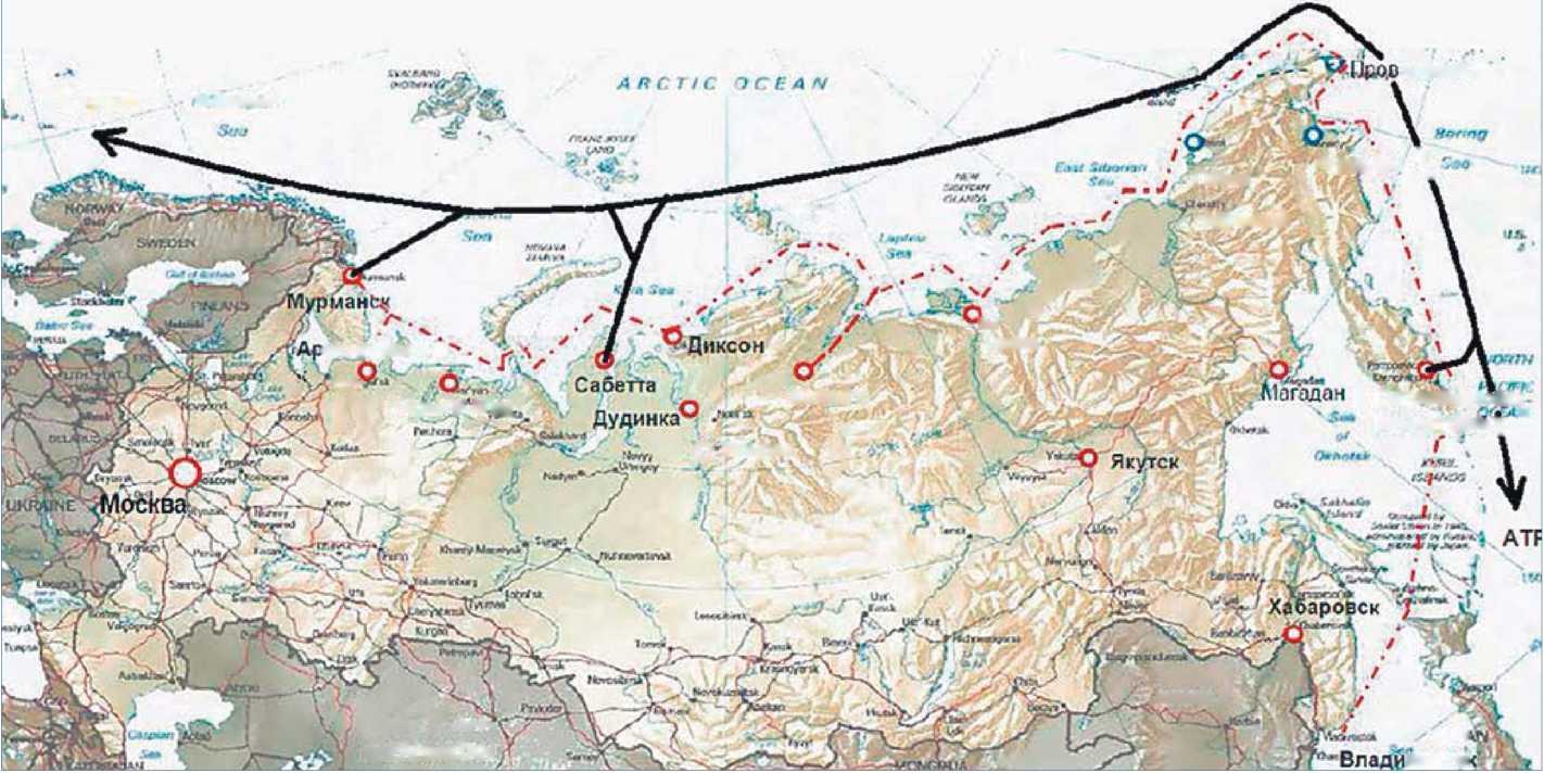 Схема 7. Северный морской путь в Арктическом регионе России. действующая трасса Северного морского пути; — трансконтинентальный маршрут АТР - Европа Северного морского пути