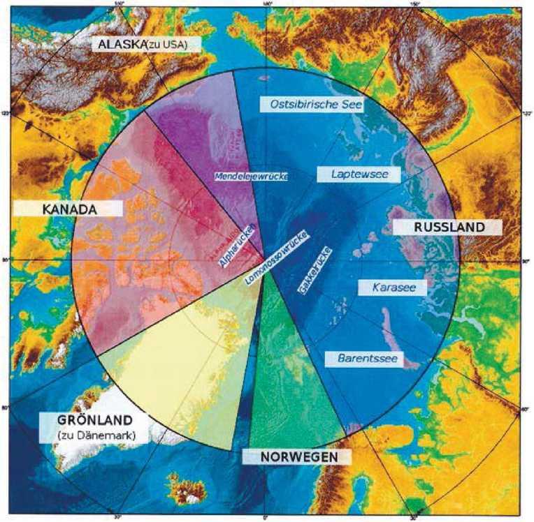 Полярные владения пяти Арктических государств по секторальному принципу