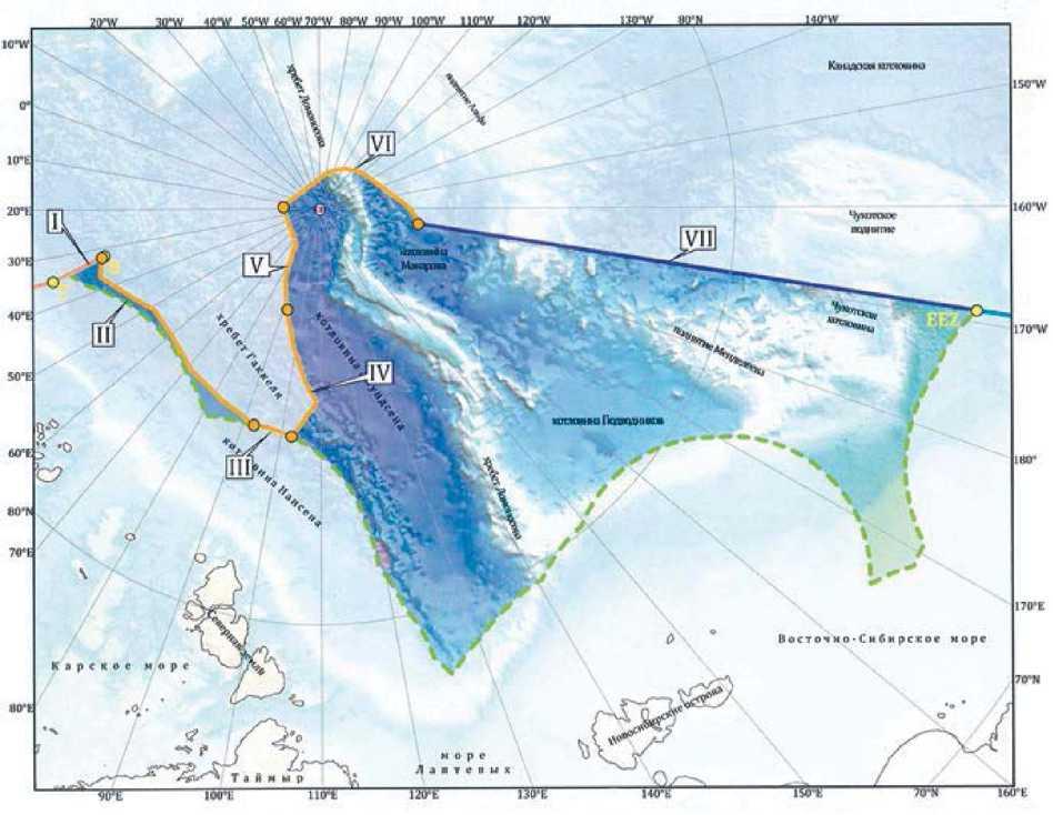 Внешняя граница континентального шельфа России в соответствии со статьёй 76 Конвенции ООН по морскому праву 1982 года.