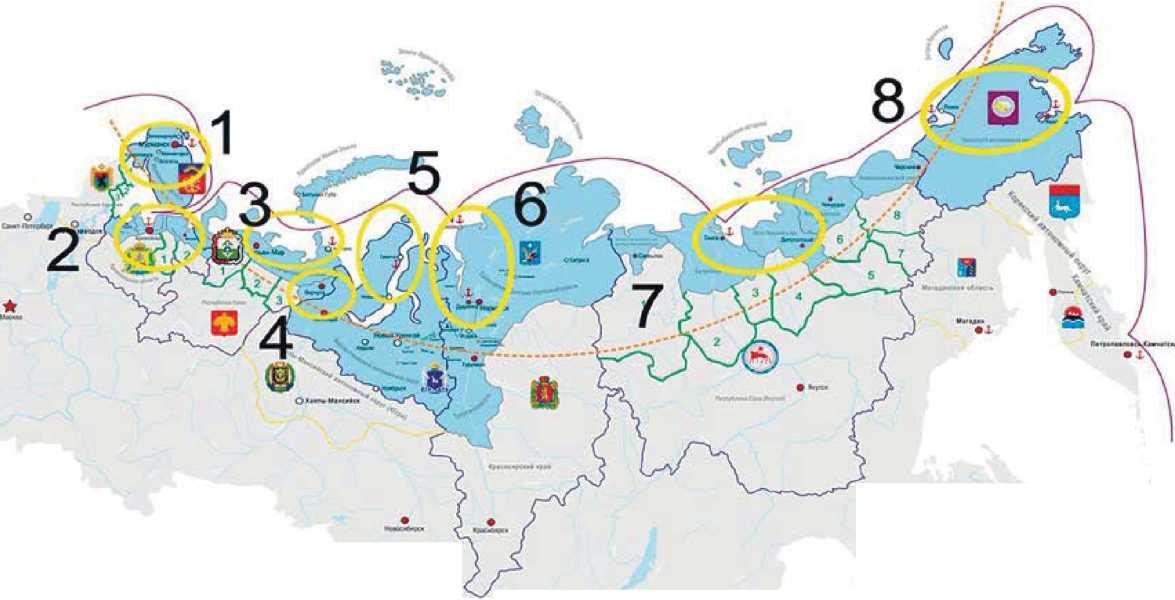Схема 8. Опорные зоны развития в регионах Арктики Российской Федерации